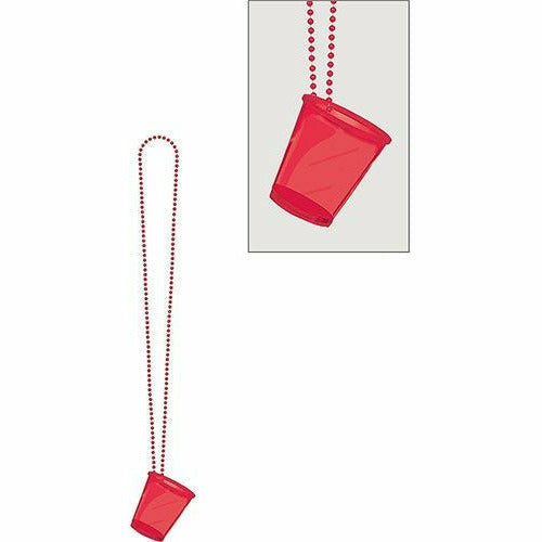 Red Shot Glass Bead Necklace