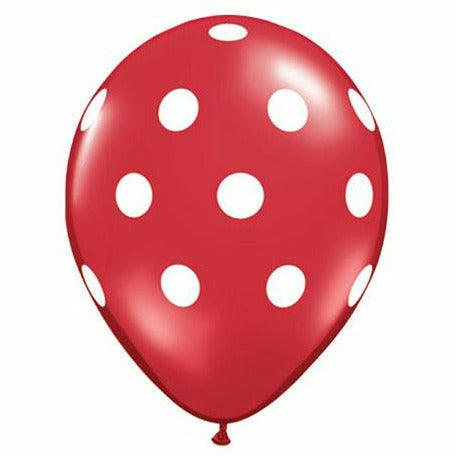 "White Polka Dots Red 11"" Latex Balloon"