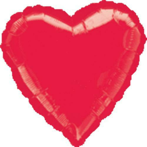 "039 Red HX Metallic Heart 19"" Mylar Balloon"