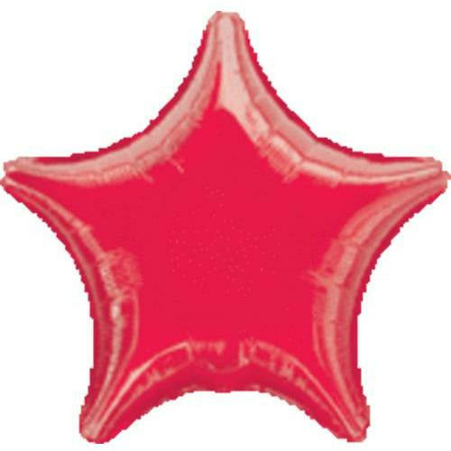 "015 Red Metallic Star 19"" Mylar Balloon"