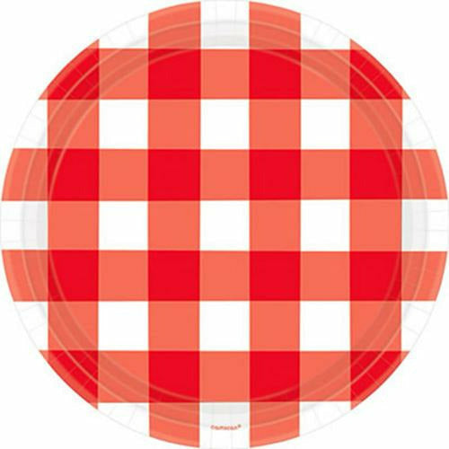American Summer Red Gingham Dinner Plates 8ct