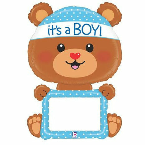 "D013 Bear It's a Boy Dry Erase Jumbo 48"" Mylar Balloon"