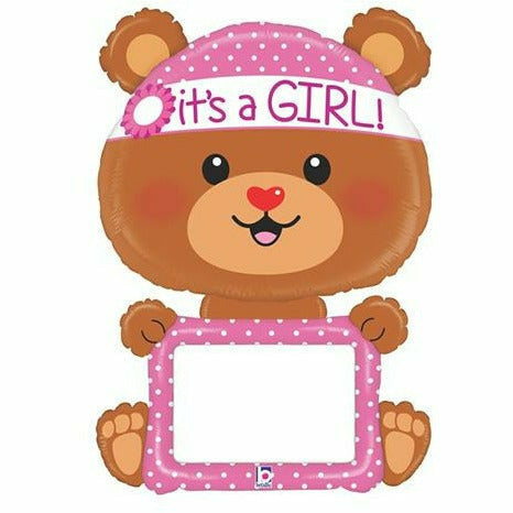 "E015 Bear It's a Girl Dry Erase Jumbo 48"" Mylar Balloon"