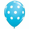 "White Polka Dots Robins Egg 11"" Latex Balloon"