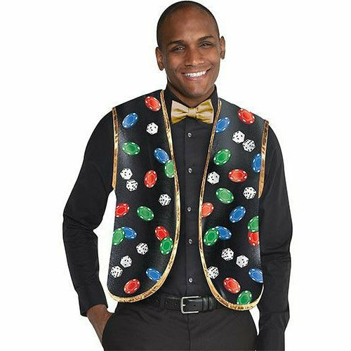 Roll the Dice Casino Dealer Vest & Bow Tie Set 2pc