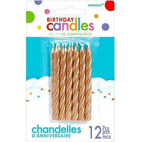 Rose Gold Birthday Candles 12ct