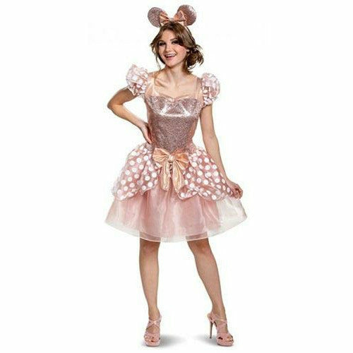 Adult Womens Rose Gold Minnie Deluxe Costume - Minnie Mouse
