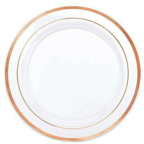 White Rose Gold Trimmed Premium Plastic Lunch Plates 20ct