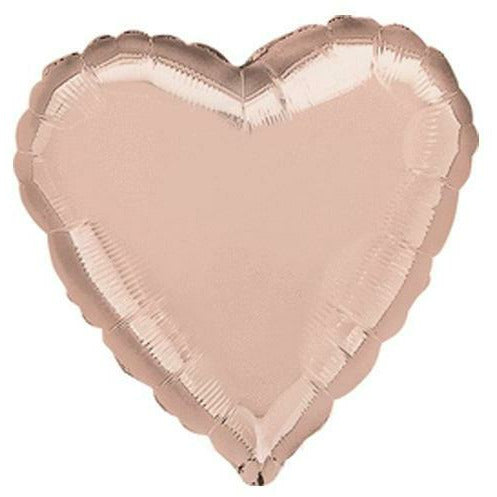 "046 Rose Gold HX Heart 19"" Mylar Balloon"