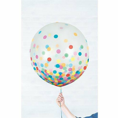 933 Round Multicolored Confetti Balloons 2ct