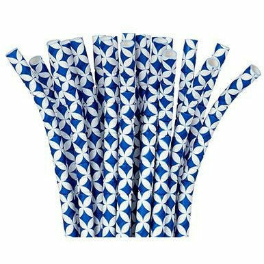 Royal Blue Diamond Flexible Paper Straws 24c
