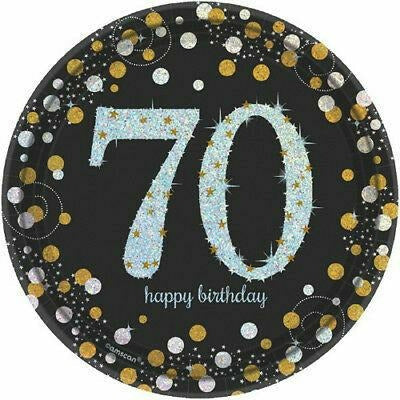 Prismatic 70th Birthday Dessert Plates 8ct - Sparkling Celebration