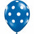 "White Polka Dots Sapphire Blue 11"" Latex Balloon"