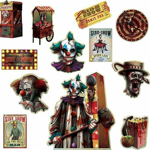 Side Show Cutouts 12ct - Creepy Carnival