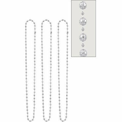 Silver Disco Bead Necklaces 3ct