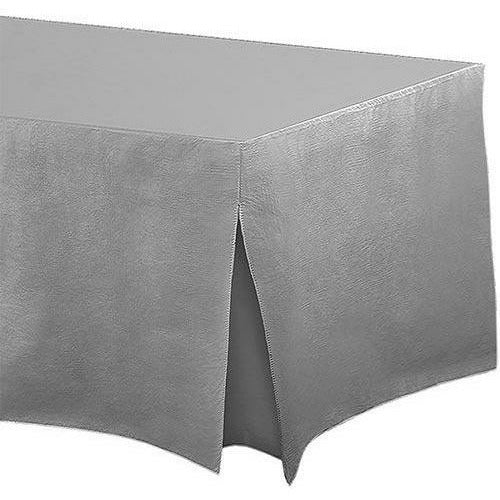 Silver Flannel-Backed Vinyl Fitted Table Cover