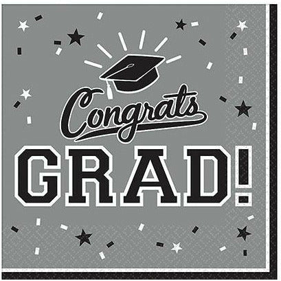 Silver Congrats Grad Lunch Napkins 36ct