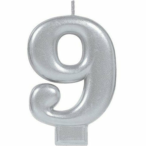 Silver Number 9 Birthday Candle