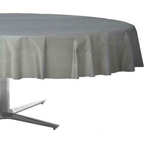 Silver Plastic Round Table Cover 84in