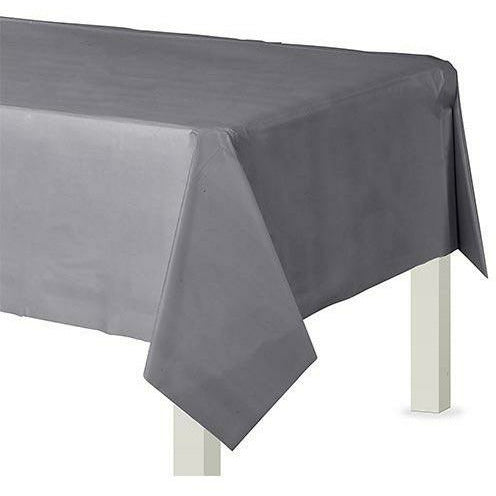 Silver Plastic Table Cover 54x108