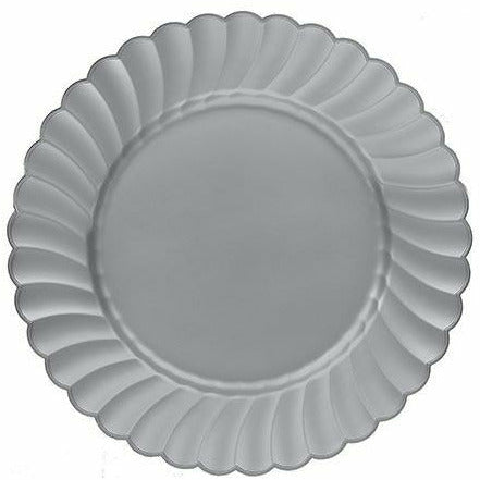 Silver Premium Plastic Scalloped Lunch Plates 12ct