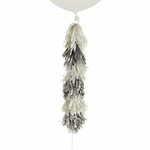 Silver & White Tassel Balloon Weight Tail