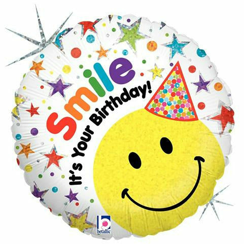 "B008 Smile It's Your Birthday 18"" Mylar Balloon"