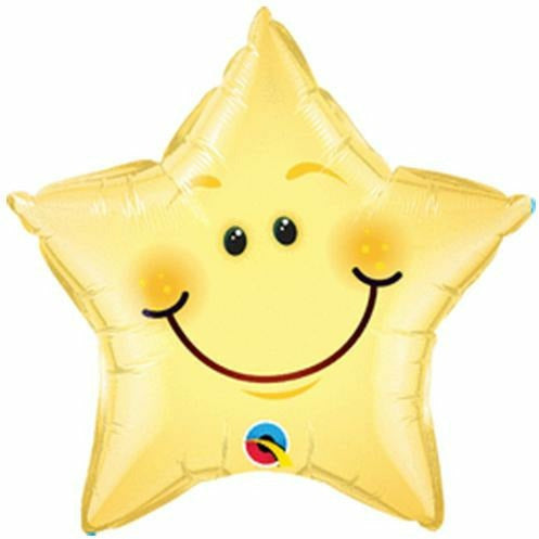 "010 Smiley Face Star 20"" Mylar Balloon"