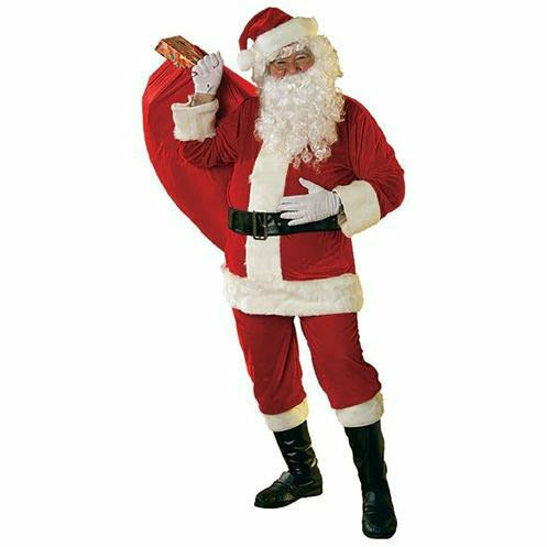 Adult Mens Soft Velour Santa Suit with Faux Fur Trim Costume