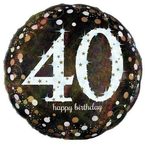 "401 Sparkling 40 Happy Birthday 17"" Mylar Balloon"
