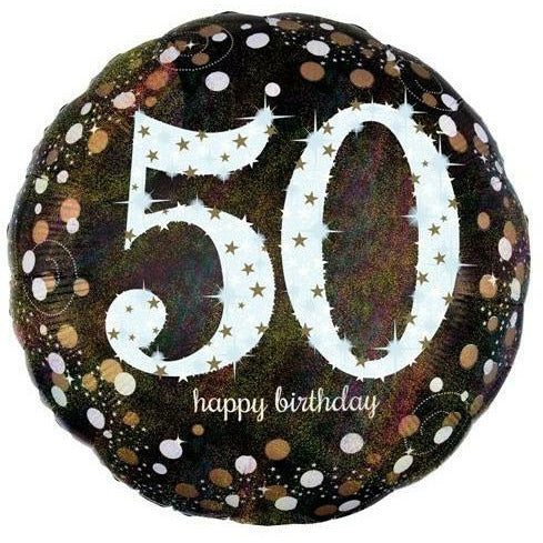 "403 Sparkling 50 Happy Birthday 17"" Mylar Balloon"