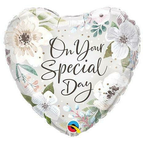 "556 Special Day White Flowers 18"" Mylar Balloon"