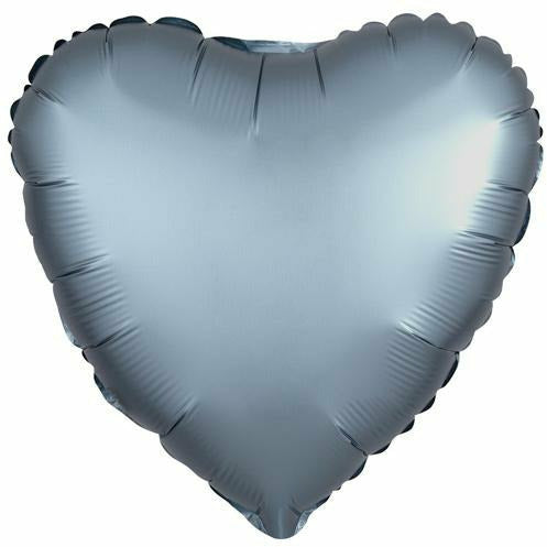 "033 Steel Blue HX Luxe Heart 19"" Mylar Balloon"