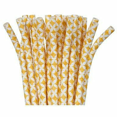 Sunshine Yellow Diamond Flexible Paper Straws 24ct