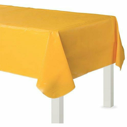 Sunshine Yellow Flannel-Backed Vinyl Tablecloth