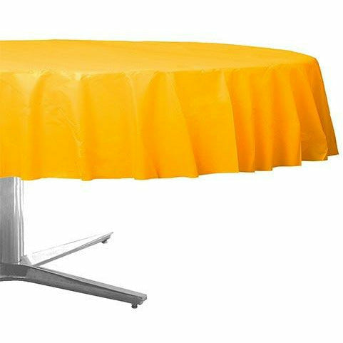 Sunshine Yellow Plastic Round Table Cover 84in