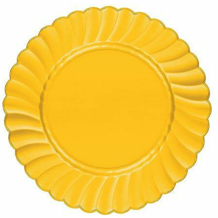 Sunshine Yellow Premium Plastic Scalloped Lunch Plates 12ct