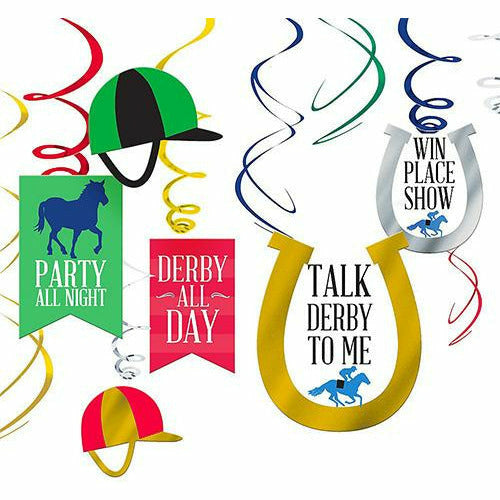 Derby Day Swirl Decorations 12ct