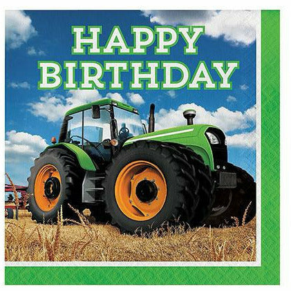 Tractor Happy Birthday Lunch Napkins 16ct