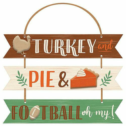 Turkey, Pie & Football Stacked Sign