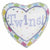"F001 Heart Twins 18"" Mylar Balloon"