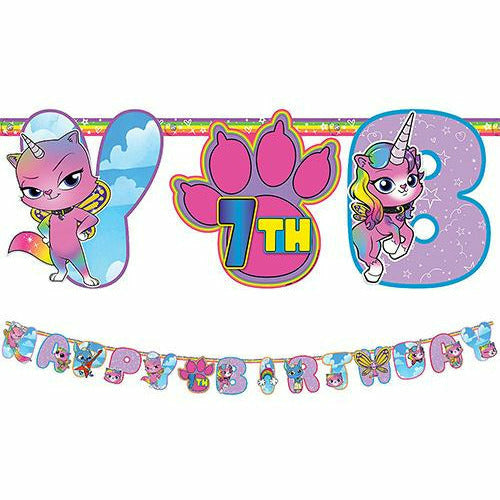 Rainbow Butterfly Unicorn Kitty Birthday Banner Kit