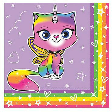 Rainbow Butterfly Unicorn Kitty Beverage Napkins 16ct