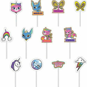Rainbow Butterfly Unicorn Kitty Cake Toppers 12ct