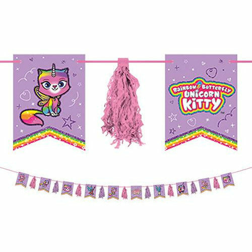 Rainbow Butterfly Unicorn Kitty Tassel Garland