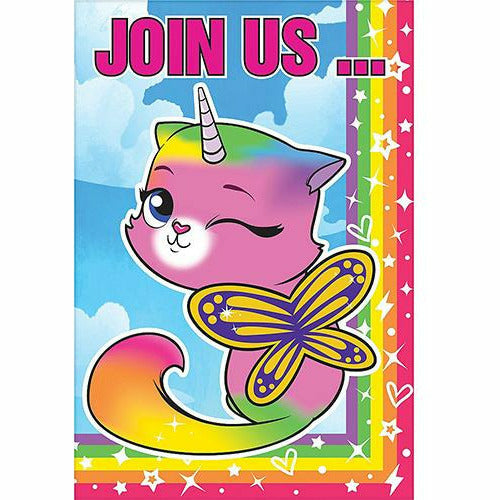 Rainbow Butterfly Unicorn Kitty Invitations 8ct