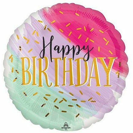 "450 Water Color Birthday 17"" Mylar Balloon"