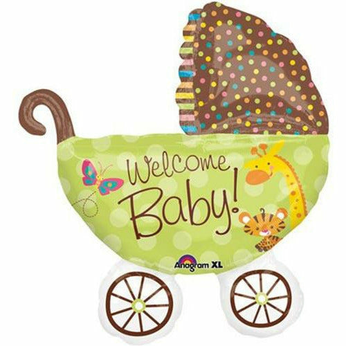 "E010 Welcome Baby Green Stroller 31"" Mylar Balloon"