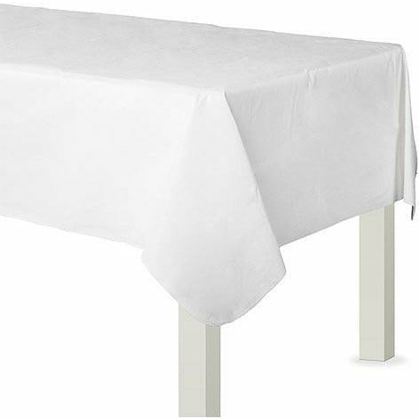 White Flannel-Backed Vinyl Tablecloth