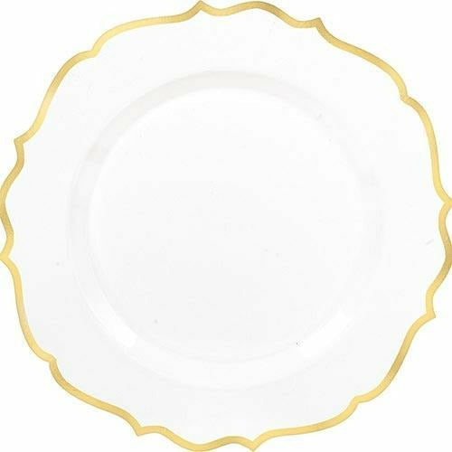 White Gold-Trimmed Ornate Premium Plastic Dinner Plates 10ct